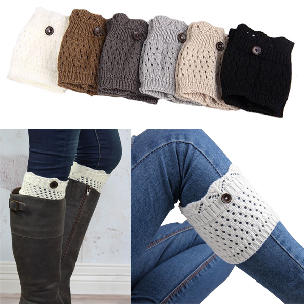Retail Women Leg Warmers knit boot cuffs Womens Accessory button short leg socks