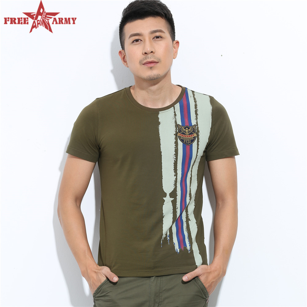 Mens Casual t-shirt men slim fit wild Sport Army Green Short Sleeve Casual Print Top Quality Mens T-shirt MS-659(China (Mainland))