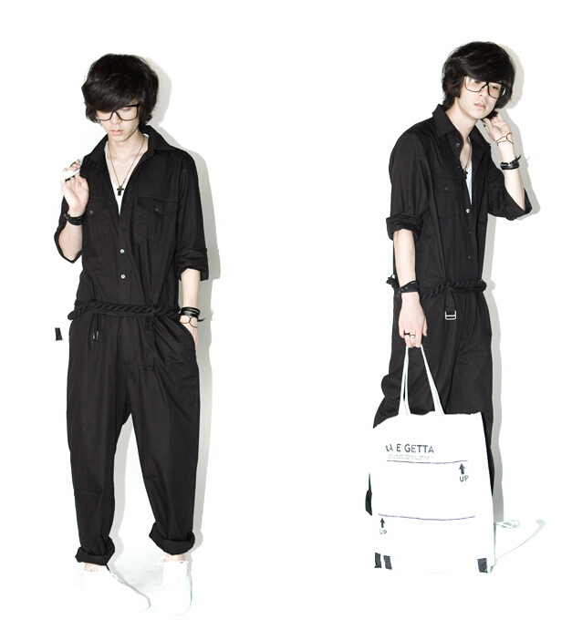 Fashion Cool Overalls Harem Pants Trousers Black New Fashion Harajuku Personalized Mens Jumpsuit Overalls Male Elegant(China (Mainland))