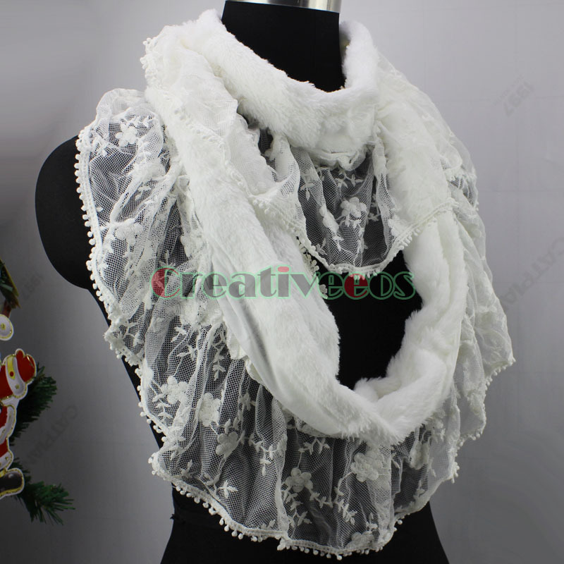 Warmer 2 Layer Fluffy Faux Rabbit Fur Ruffle Lace Trim Splicing Infinity 2-Loop Solid Colors Eternity Endless Circle Scarf Wrap(China (Mainland))