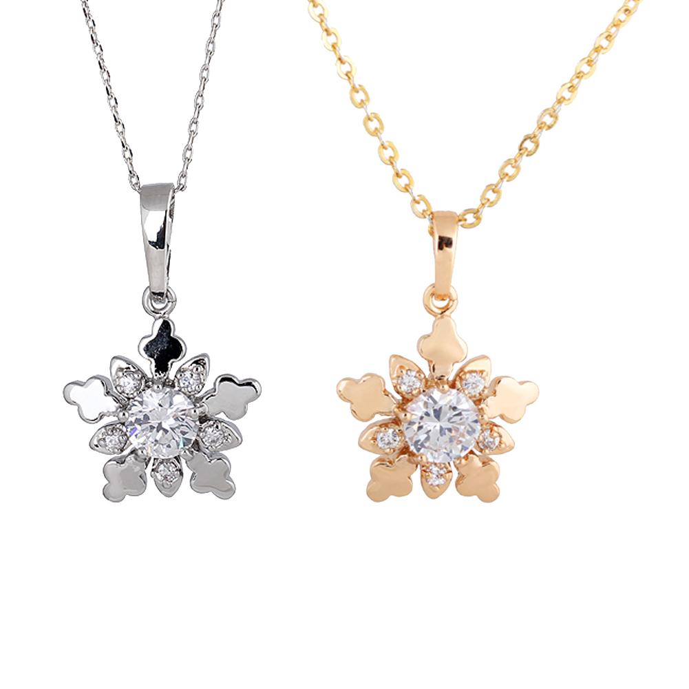 New Year Christmas Gift Fashion Luxury Shiny Rhinestone Snowflake Necklace Pendants Chain Long Necklace Jewelry Women Hi(China (Mainland))