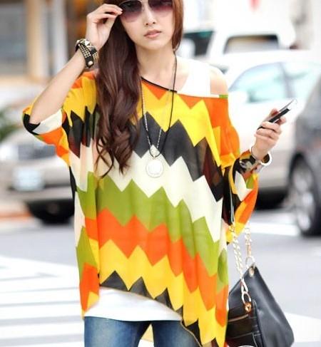 2013 Summer Women's plus size 4XL/XXXXL Chiffon shirts top Printed colorful Lady blouses fashion Blouse - BIG SIZE GARMENTS store