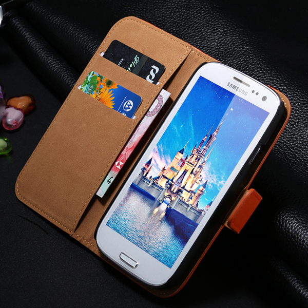 S3 Luxury Real Genuine Leather Case For Samsung Galaxy S3 I9300 Wallet Stand Card Holder Retro Magnetic Mobile Phone Cover Bag(China (Mainland))
