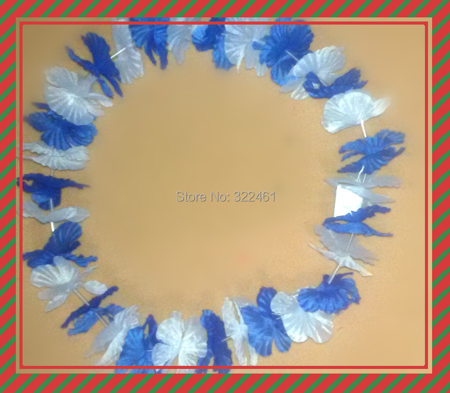 10pcs/lot Free Shipping festive & party supplies Party Hawaiian Flower lei/Greece flag color plantas artificiales(China (Mainland))