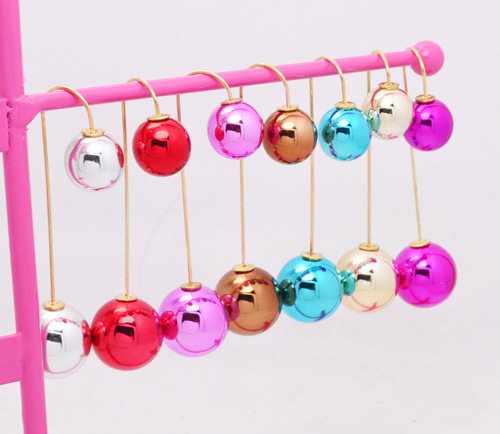 pearl earrings hanging sided wholesale uv 2 ball mix colors doulbe faced pearl stud earrings for women gift 2 way wear(China (Mainland))