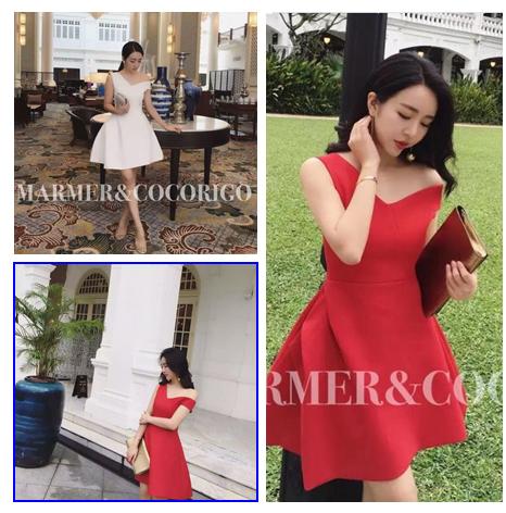 Women dress Solid V-Neck 9912 Plastic Shoulder Dresses White Red 3487(China (Mainland))