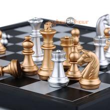 NEUE Magnetische schach, Silber & gold stück schach, Klapp magnettafel, faltbare bord Freies Verschiffen!(China (Mainland))