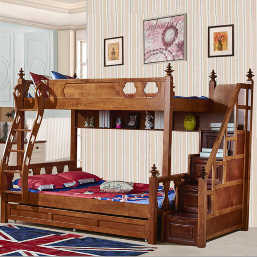 Webetop American Country Style Bunk Bed Mother & Son Bed Double Type Trailer Bed / High Tank Storage Bed Solid Wood Funiture Set(China (Mainland))