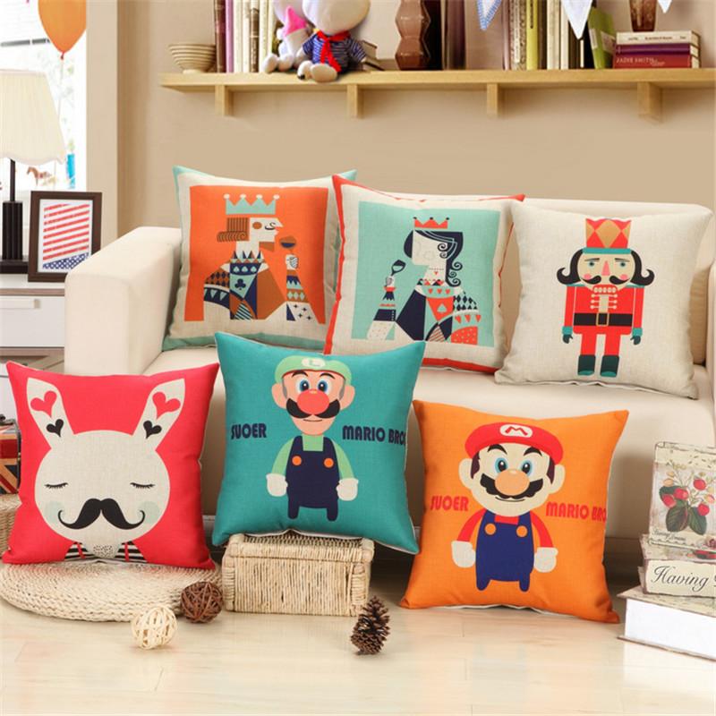 Mushroom Uncle Printed Cotton Linen Sofa Cushion Embrace Pillow 45x45cm/17.7x17.7'' Throw pillow Home Decor Textile seat cushion(China (Mainland))