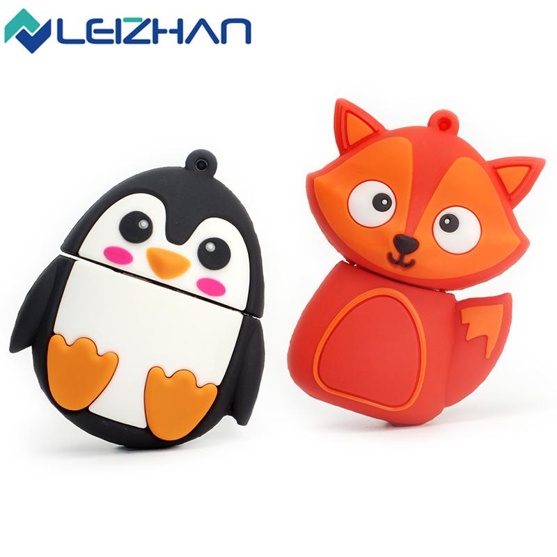LEIZHAN USB Flash Drive Cute Fox&bee&Owl&Penguin 64g 32g 16g 8g 4g USB Stick 2.0 Pen Drive Pendrive Animal Memory USB Drive(China (Mainland))