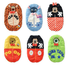 Baby Sleep Bag Cartoon Tiger Minnie Stich Envelope Baby Winter Sleeping Sack Coral Fleece Infant Swaddle Blankets Bed Warm Wrap(China (Mainland))