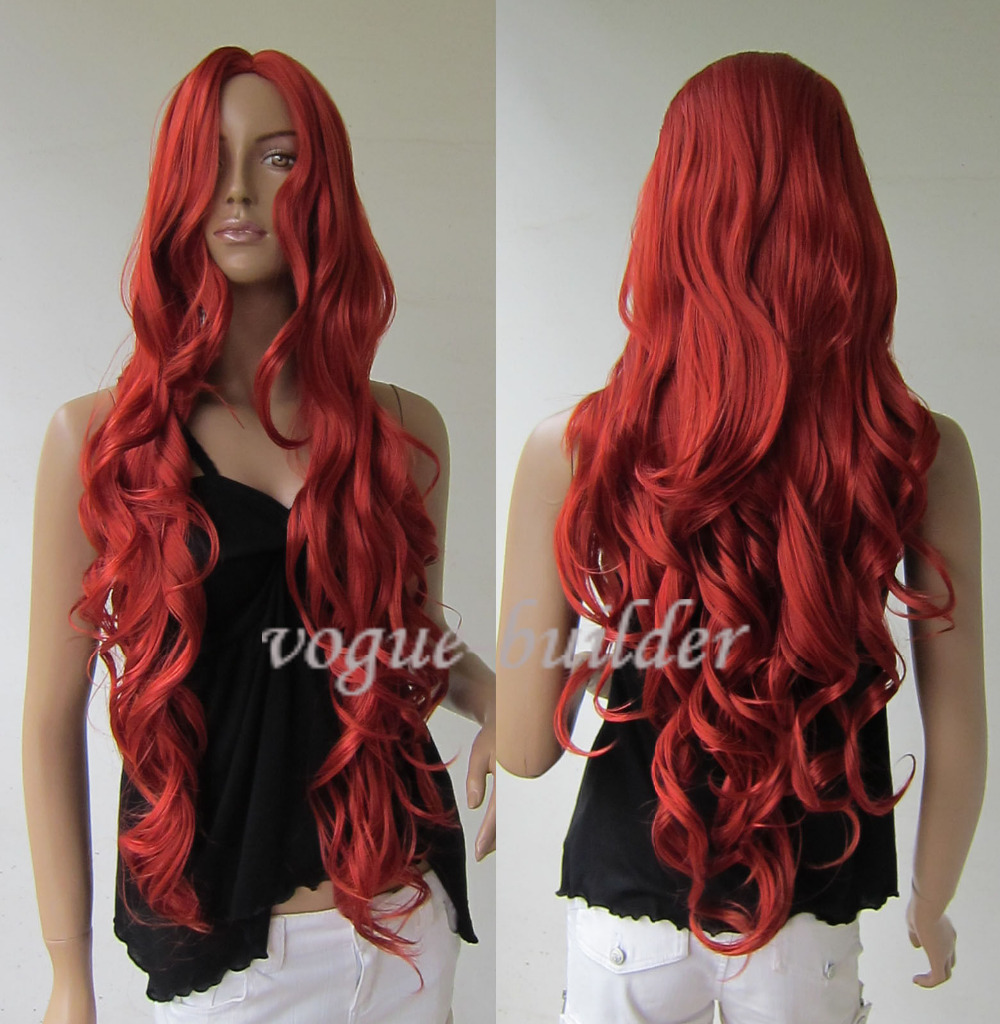 Long Copper Red Spiral Wavy Cosplay Hair Wig>>Party cosplays heat resistant free shipping(China (Mainland))