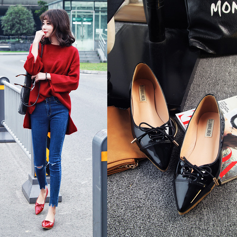 spring 2016 fashion womens casual bowtie flats brand designer women pointed toe flat shoes casual slip on shoes woman plus size<br><br>Aliexpress