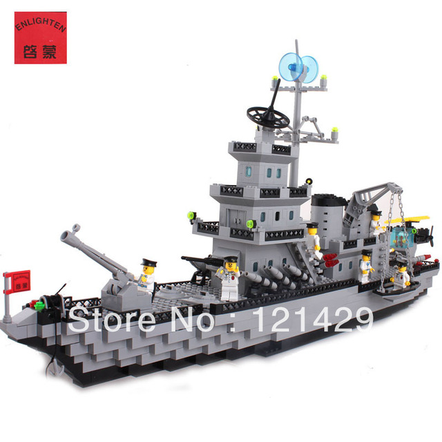 Without box cruiser Enlighten 112 970pcs building blocks 3D DIY assembling educational toy Birthday gift Free Shipping