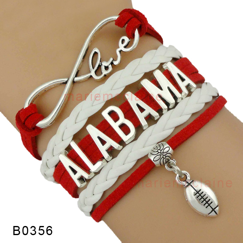 (10 Pieces/Lot) High Quality Infinity Love Alabama Football Team Bracelet Red White Custom any Themes Drop Shipping(China (Mainland))