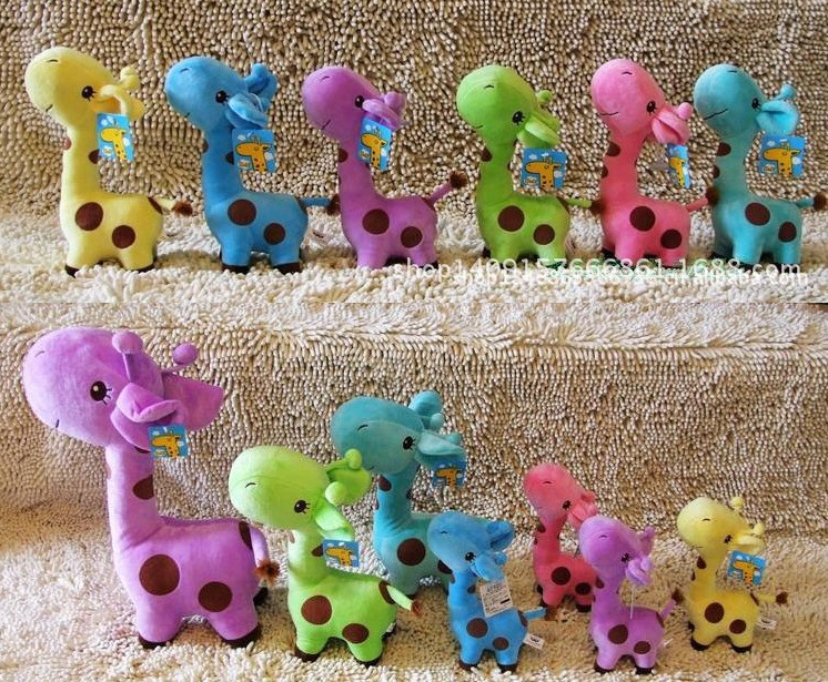 Promotion! 2015 HOT sale Lovely Giraffe Dear Soft Plush Toy Cute Little Baby Animal Doll Colorful adorable plush toys gifts N220(China (Mainland))