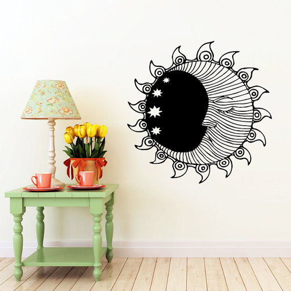 Sun Wall Sticker Moon Crescent Dual Ethnical Stars Symbol Wall Decals Vinyl Stickers Interior Home Decor Bedroom(China (Mainland))
