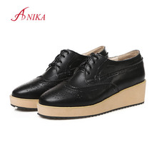 Big Size 32-43 New 2016 nice High Quality PU Lace up Casual Flats Platform Shoes Woman Spring Summer Black Retro Oxford Shoes(China (Mainland))