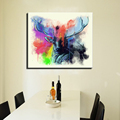 Decorative Deer head wall decoration colorful large single piece picture oil painting hd printed wall decoration