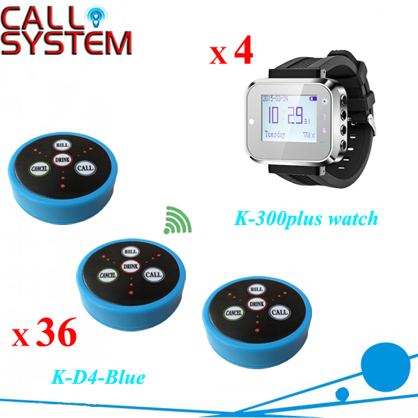 CE Passed Waiter Call Button Bell System 4 wrist pager 36 Table transmitter used in the cafe house(China (Mainland))