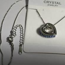 Jakość wisiorek z podwójnym sercem sweter naszyjnik łańcuch austriacki kryształ AAAA + rhinestone charms kobiety moda biżuteria darmowa wysyłka(China)