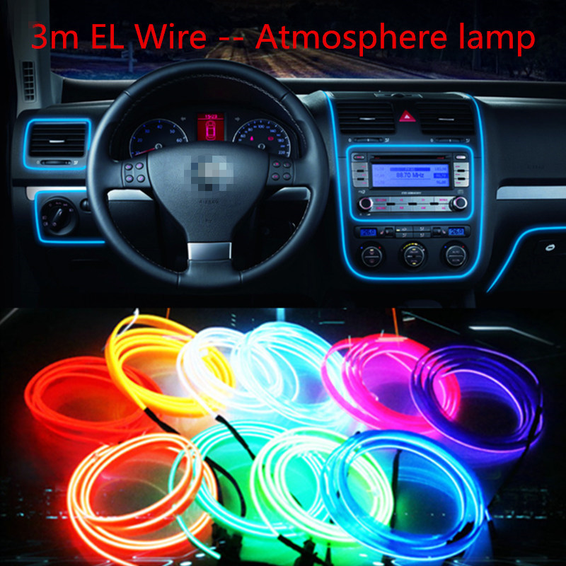 Car styling el products 3m EL Wire Cold Neon Light For chevrolet cruze lacetti aveo captiva emblem niva Car Stickers(China (Mainland))