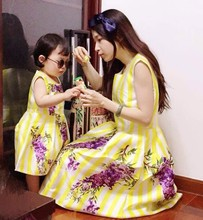 2015 mother and daughter dresses women girls brand vintage maxi floral dress matching mother and daughter