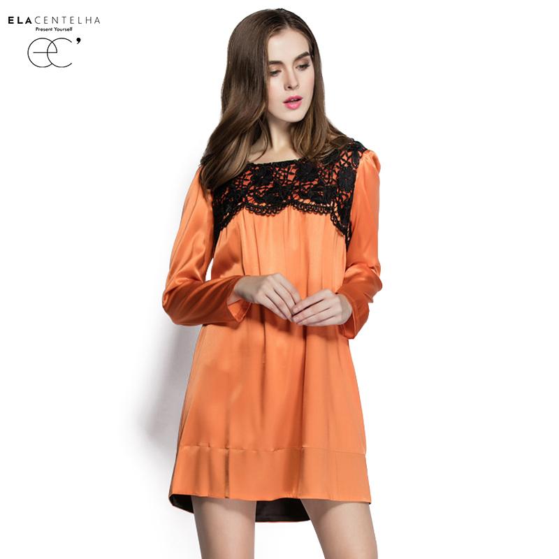 ElaCentelha Brand Dress Autumn Winter Women High Quality Lace Patchwork Hollow Out Dress Casual Full Sleeve Womens Mini DressesОдежда и ак�е��уары<br><br><br>Aliexpress