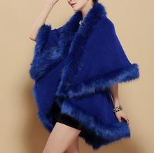 Plus Size Knitted Capes Wool Cashmere Shawl Fur Coat Faux Fur Fox New Fashion Winter Women