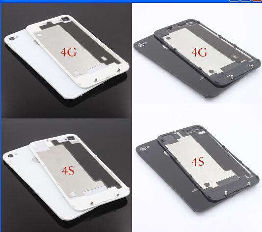 Very popular Black GSM For iPhone 4 4G /4S Compatible Back Cover Door Rear Panel Plate Glass Housing Replacement(China (Mainland))