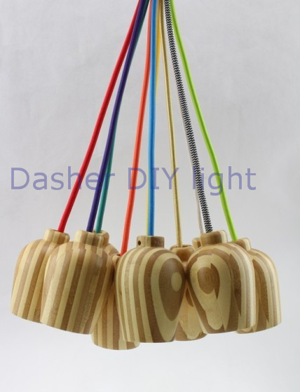 Modern Decorative Wooden Hanging Pendant Light Bulb