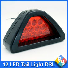 Universal 12 LED 12V DC DRL Triangle Car Rear Tail Light Safety Fog  Rear Lamp Brake Stop Light Flash Lamp Car styling(China (Mainland))