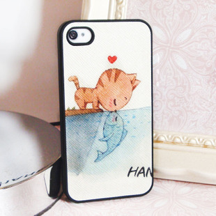 Leather small fresh cartoon cat for iphone 4 4s phone case for apple case protective shell