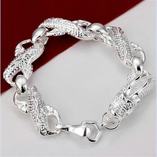 B022 Christmas gift 2015 925 sterling silver Fashion Jewelry men Dragon charm bracelets bangle Wholesale jewelry