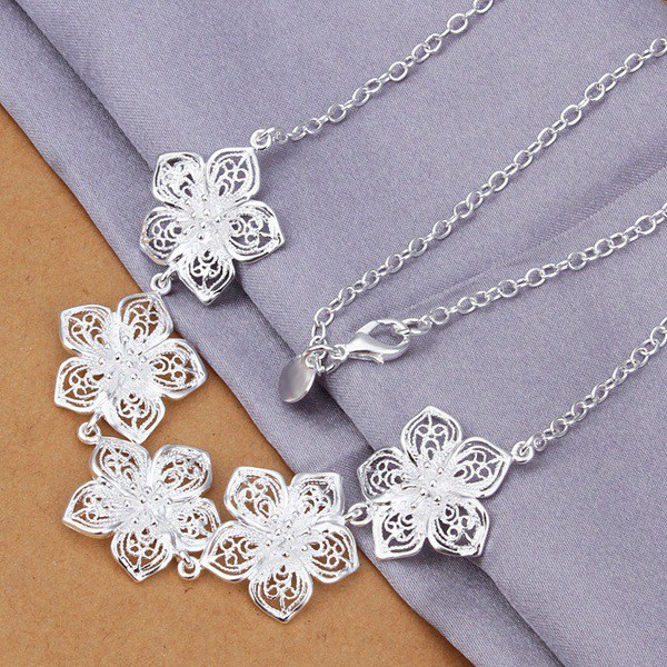 New Listing Hot selling 925 sterling silver retro charm flowers Necklace Fashion trends Jewelry Gifts(China (Mainland))