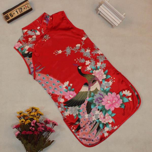 Hot Classic Children Kid Baby Girl Chinese Peacock Cheongsam Dress/Qipao Clothes(China (Mainland))