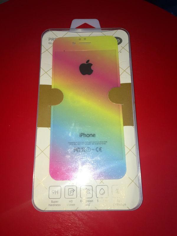 10set lot 5s Rainbow Colors Shinny Anti shock Front Back Tempered glass font b Screen b