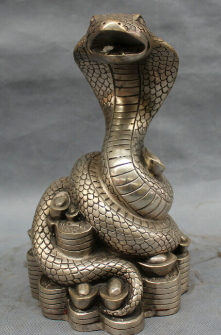 """song voge gem S3649 10"""" Chinese Silver Folk Year Zodiac YuanBao Coin Wealth Snake Statue Sculpture(China (Mainland))"""