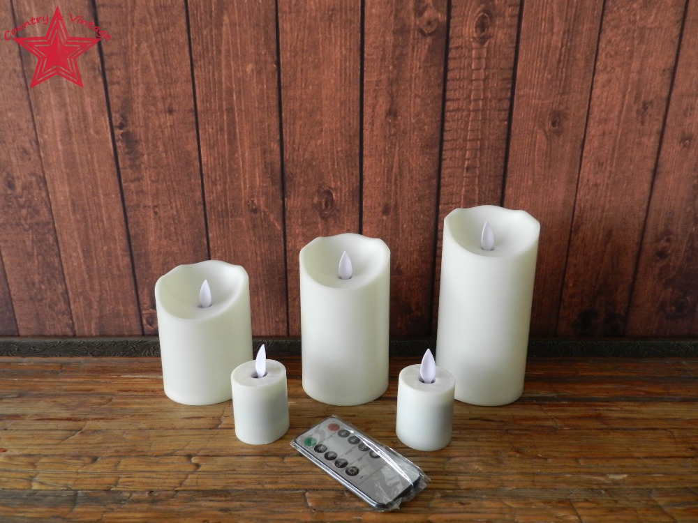 5 PCS/SET Dancing Flame Pillar LED Candle with Remote Contro, Ivory(China (Mainland))