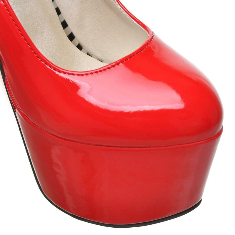 Ultra-high-heeled Women PU Patent Leather High Heels Evening Party Wedding Bridal Shoes High Platform Shoes