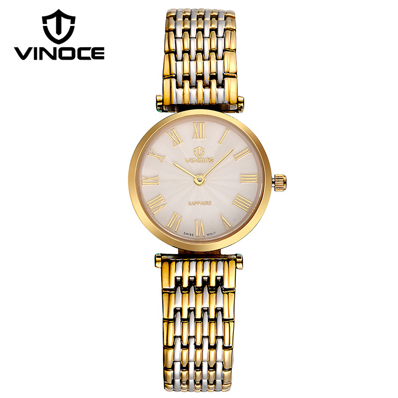 VINOCE Top Brand Luxury Gold Quartz Watch Women Stainless Steel Band Ladies Watches Fashion Ultra Thin Montre Femme V8369(China (Mainland))