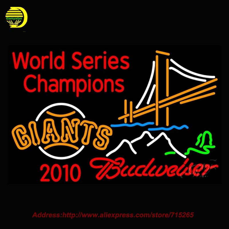 Budweiser Mountain Golden Gate San Francisco Giant 2010 World Neon Sign Recreation Room Handcrafted Glass Tube Iconic Sign 37x24(China (Mainland))