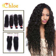 6A Unprocessed Brazilian Virgin Hair Deep Wave With Closure Human Hair 4 Bundles With Lace Closure Brazilian Curly Virgin Hair