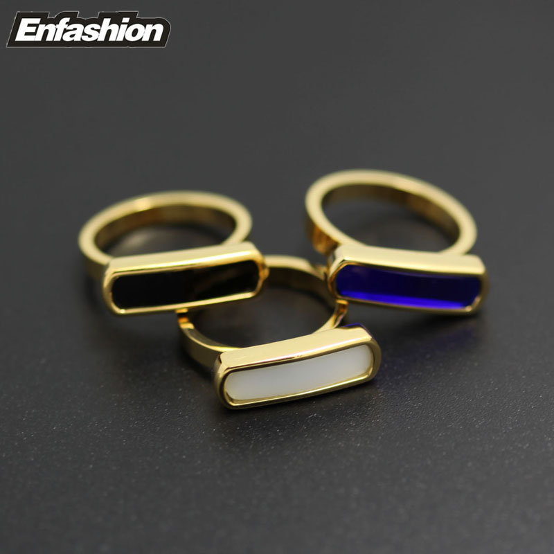 Fashion flat tag ring with colored natural stone finger ring 24k gold rings for women stainless steel ring jewelry wholesale
