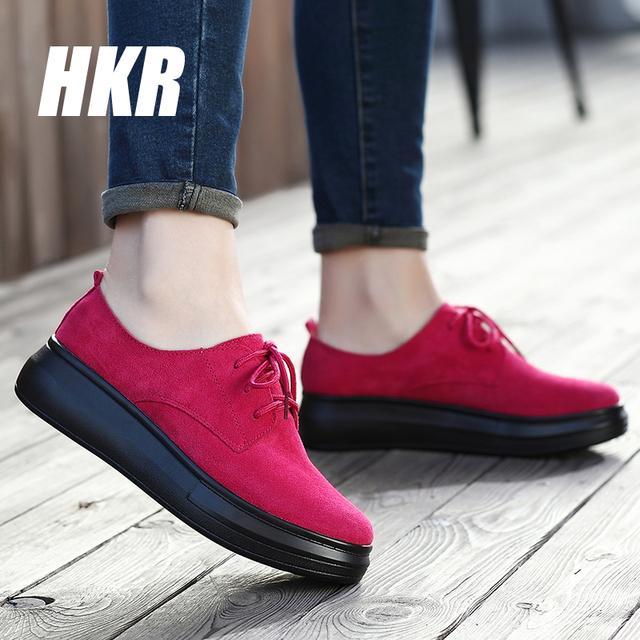 HKR 2016 Весна женщин повседневная обувь дамы, босоножки, мокасины замша натуральная ...