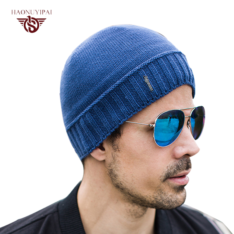 Mens Winter Hats Knitting Warm Skull Cap Blue Black Cotton Hat Slouchy Beanie Casual Fashion Soft Male Thick Fur Inside Caps(China (Mainland))