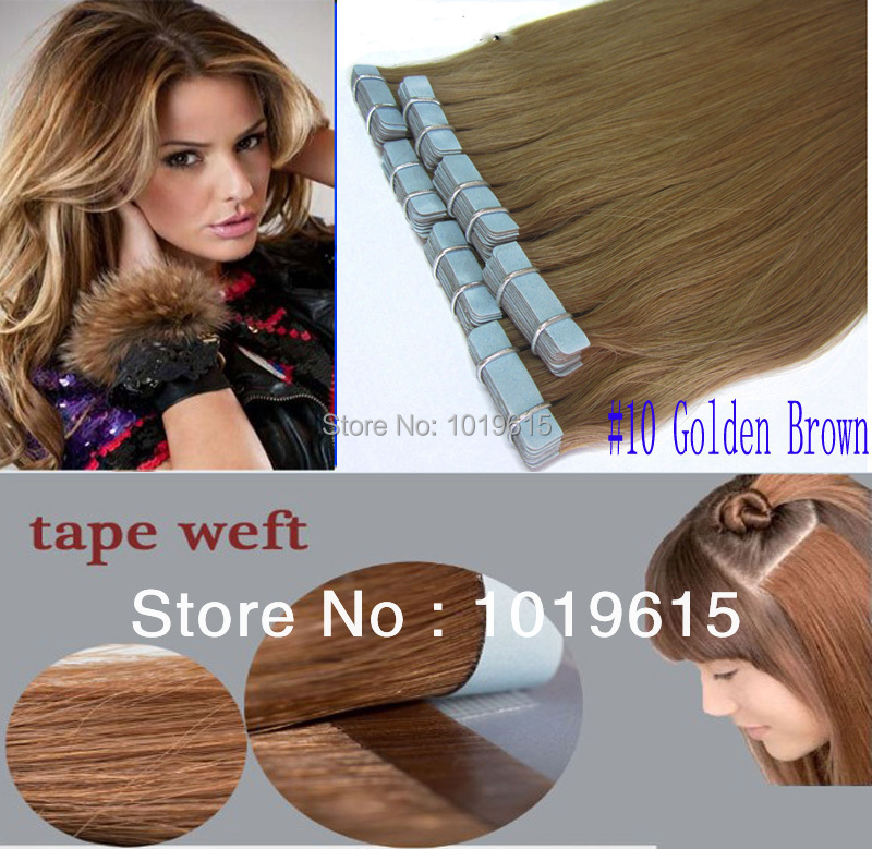 Brazil straight hair Skin Weft (PU) Tape Hair Extensions 100% indian 100g 40 pieces #10 Golden Brown 28 inch - wigs China store