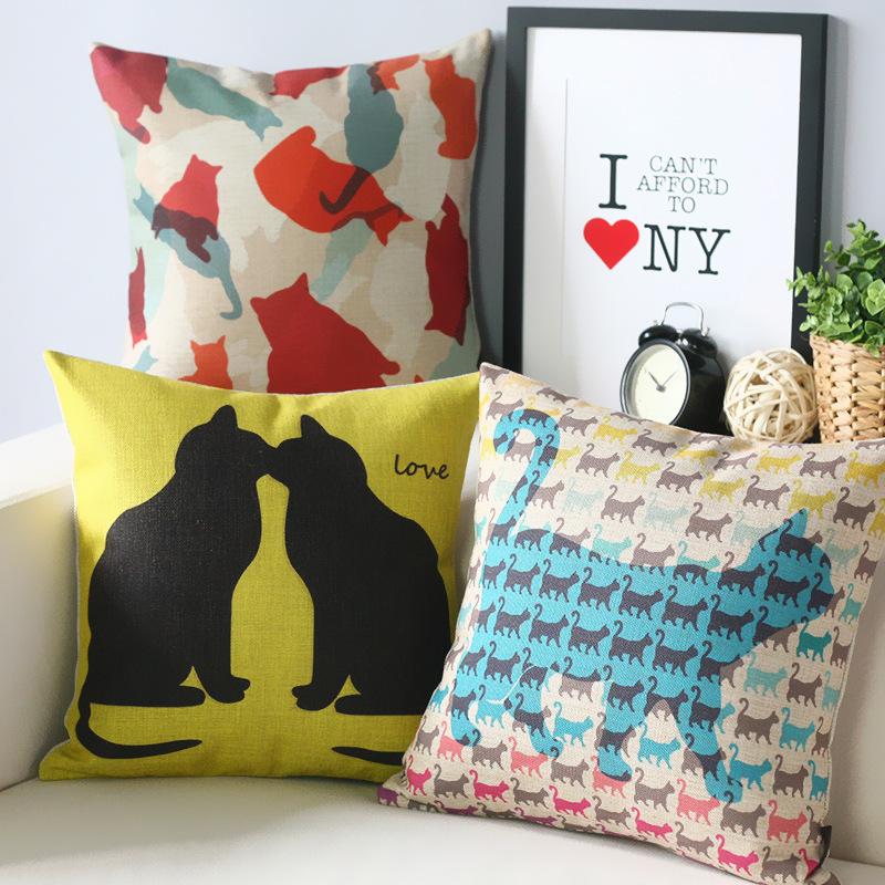 Kitten home Cute literary pillow Cartoon cat Pillow cushion pillowcase sofa cushion home decorative Pillows