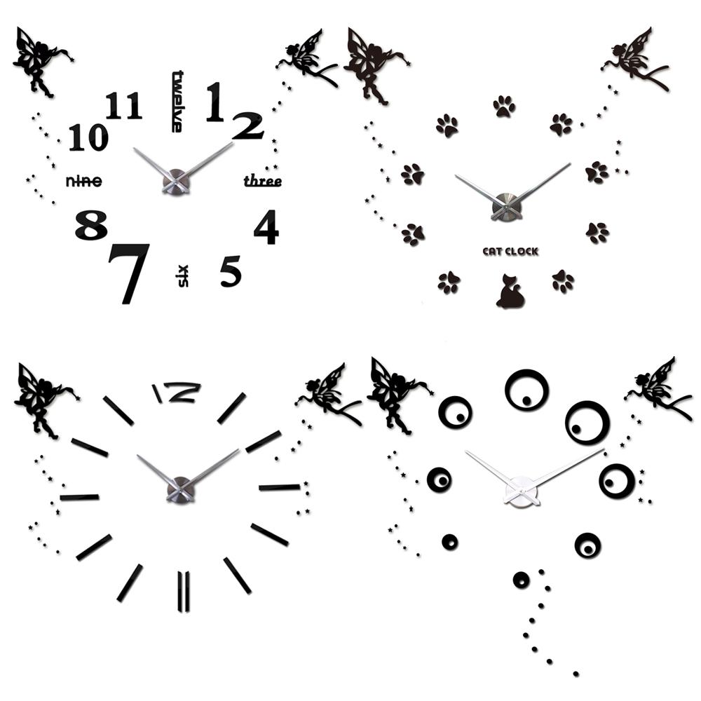 25''-40'' Large Big Oversized DIY Digital 3D Wall Clocks Angel Guardian Clocks Kitchen Modern Self-adhensive Quartz Retro Clock(China (Mainland))