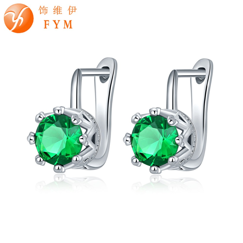 FYM Brand Luxury 7 Colors Big Green Round Cut Cubic Zirconia Earring Fashion Sliver Color Hoop Earrings Best Quality Jewelry(China (Mainland))